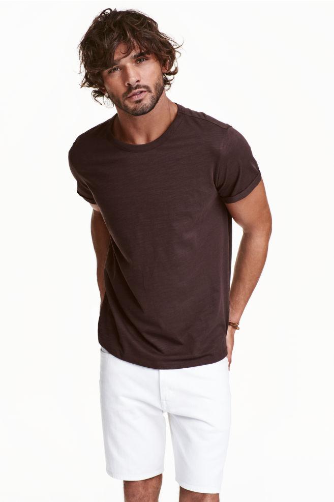 af99c98fff30 Slub jersey T-shirt - Dark brown - Men | H&M ...
