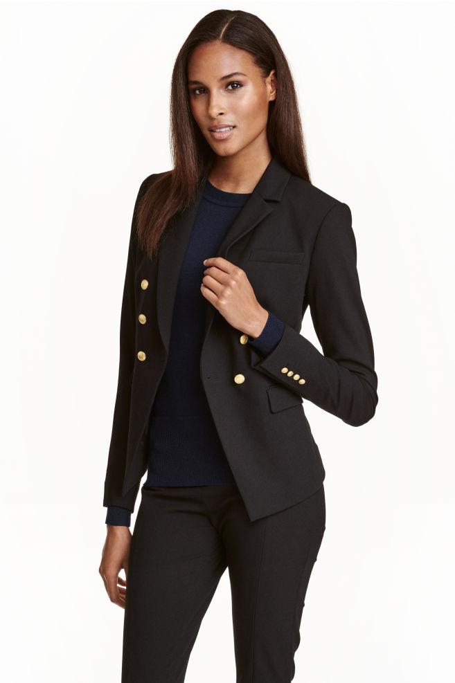 c8ef0c5d Double-breasted blazer - Black - Ladies | H&M ...