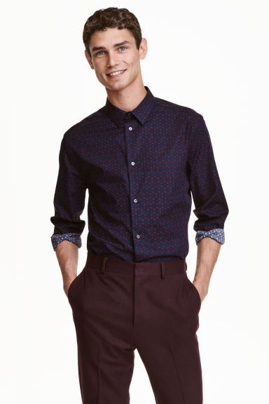 Premium cotton shirt - Dark blue/Burgundy -  | H&M CN