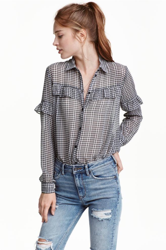f4e63655a6 Camisa con canesú con volante - Cuadros Negro - MUJER