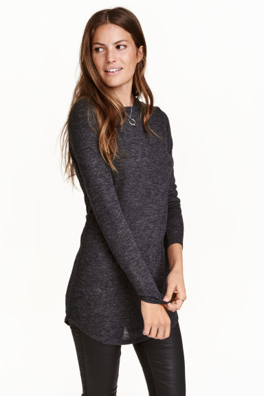 Long jersey top - Dark grey marl - Ladies | H&M CN