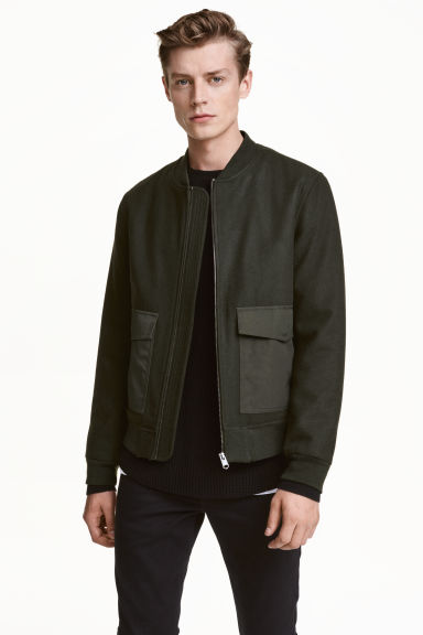 Bomber jacket in a wool blend - Dark khaki green -  | H&M CN