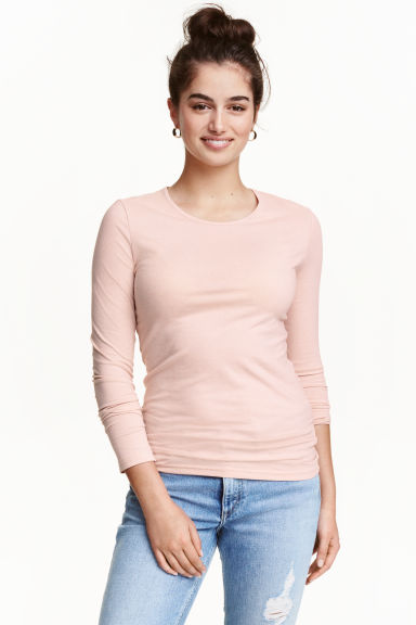 Long-sleeved jersey top - Powder pink -  | H&M