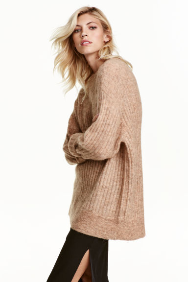 Oversized mohair-blend jumper - Beige marl - Ladies | H&M GB