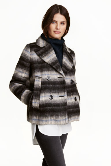 Wool-blend jacket - Dark grey/Striped - Ladies | H&M GB