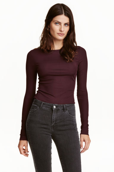Ribbed top - Plum -  | H&M CN