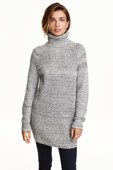 Ribbed polo-neck jumper - Black/White marl - Ladies | H&M CA