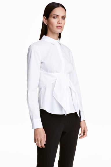 Cotton tie-waist shirt - White - Ladies | H&M GB