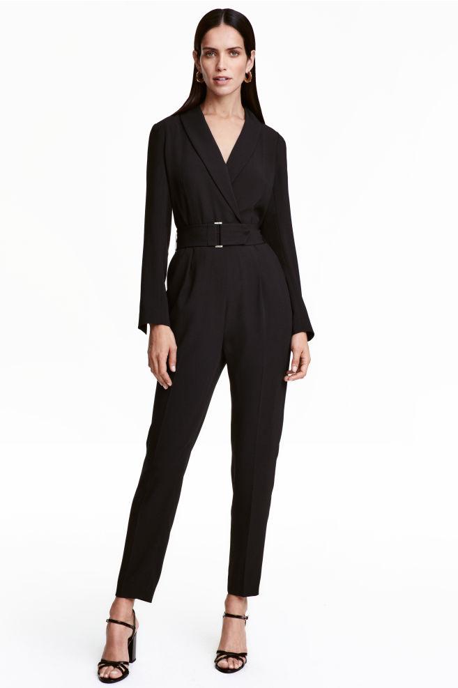 095cbeabfbc6 V-neck jumpsuit - Black - Ladies