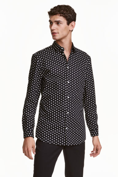 Shirt in premium cotton - Black/White/Spotted - Men | H&M GB