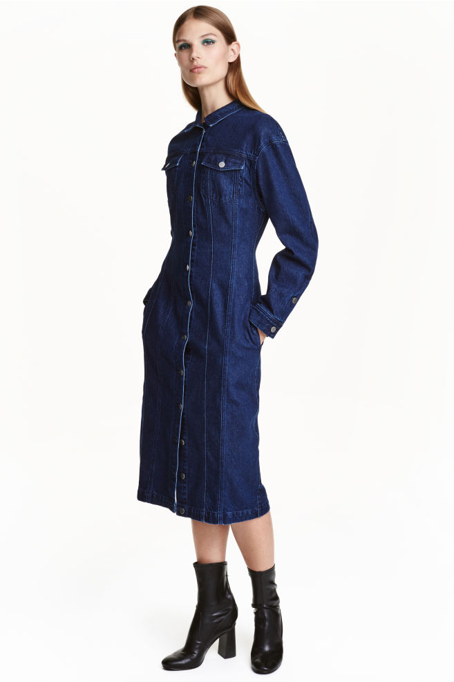 7fcee90b939dbc Fitted denim dress - Dark denim blue - Ladies   H&M ...