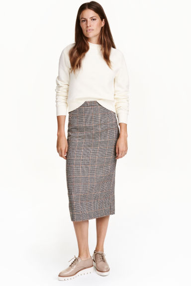 Wool-blend skirt - White/Dogtooth - Ladies | H&M IE