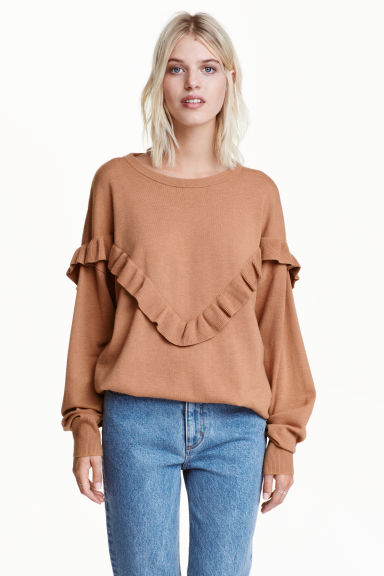 Oversized frilled jumper - Camel - Ladies | H&M GB