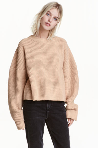 Chunky-knit wool jumper - Light beige -  | H&M GB