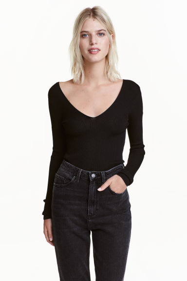 Ribbed top - Black -  | H&M CN