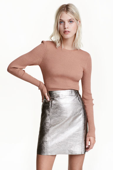 Coated leather skirt - Silver - Ladies | H&M CN
