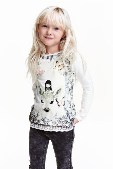 Jersey top with a lace trim - White/Roe deer - Kids | H&M CN
