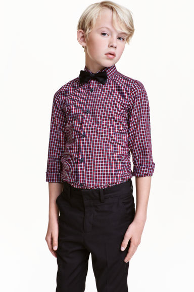 Shirt with tie/bow tie - Red/Checked - Kids | H&M CN