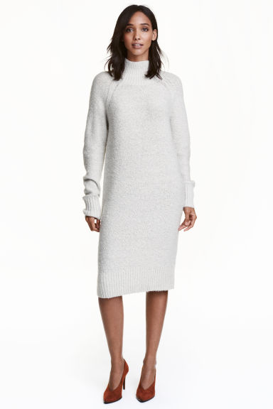 Knitted turtleneck dress - Natural white marl -  | H&M GB