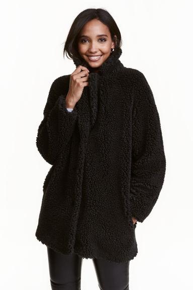 veste en peluche noir femme h m fr. Black Bedroom Furniture Sets. Home Design Ideas