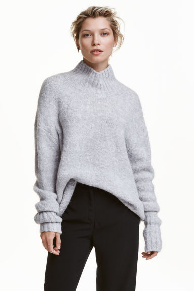 Knitted polo-neck jumper - Light grey marl - Ladies | H&M GB