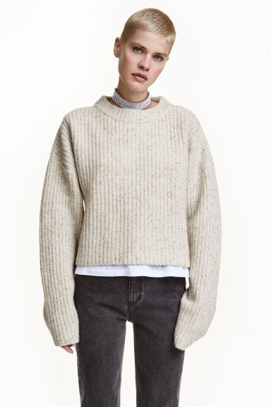 Chunky-knit wool jumper - Light grey marl -  | H&M GB