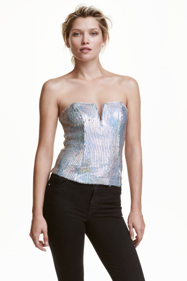 Sequined bustier - Silver - Ladies | H&M CN