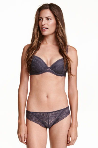 Lace half-string briefs - Dark grey - Ladies | H&M CN