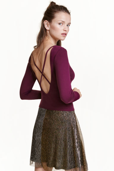 Jersey top - Dark purple - Ladies | H&M CN