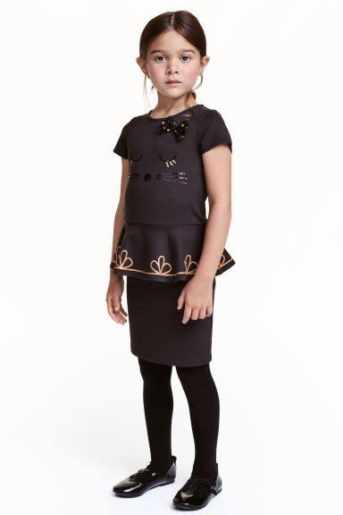 Dress with sequined embroidery - Black -  | H&M CN