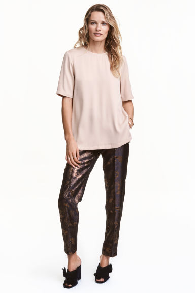 Glittery pull-on trousers - Dark blue/Bronze - Ladies | H&M CN