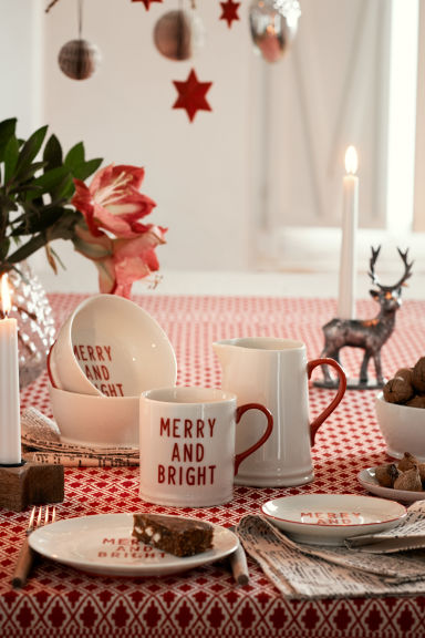 Caneca porcelana com motivo - Branco/Merry and Bright - HOME | H&M PT
