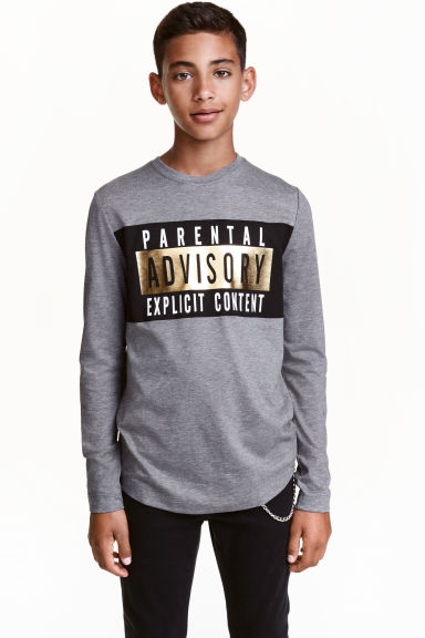 Long-sleeved printed T-shirt - Dark grey/Parental Advisory - Kids | H&M CN