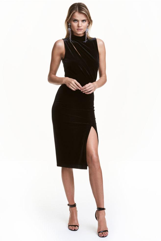 a18e0de2c428 Welurowa sukienka bez rękawów - Czarny - ONA