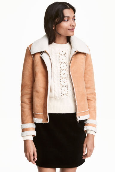 Pile-lined jacket - Beige - Ladies | H&M GB