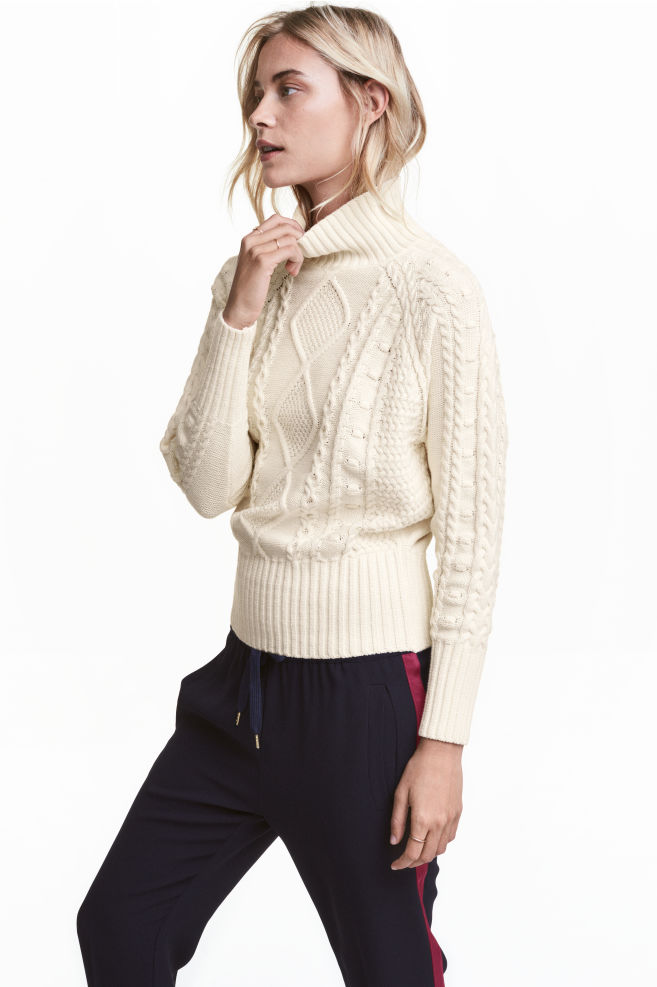 be8ed84d5 Cable-knit polo-neck jumper - Natural white - Ladies