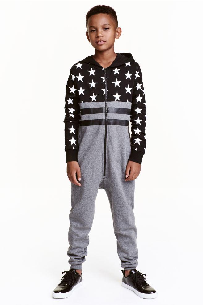 de7e426c238e37 Tuta intera in felpa - Grigio mélange/stelle - BAMBINO | H&M ...
