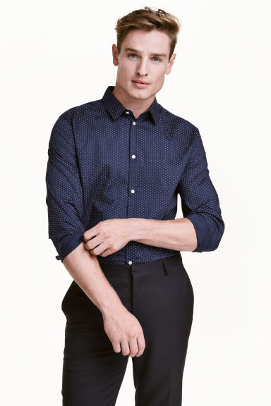 Cotton shirt Slim fit - Dark blue/Spotted - Men | H&M