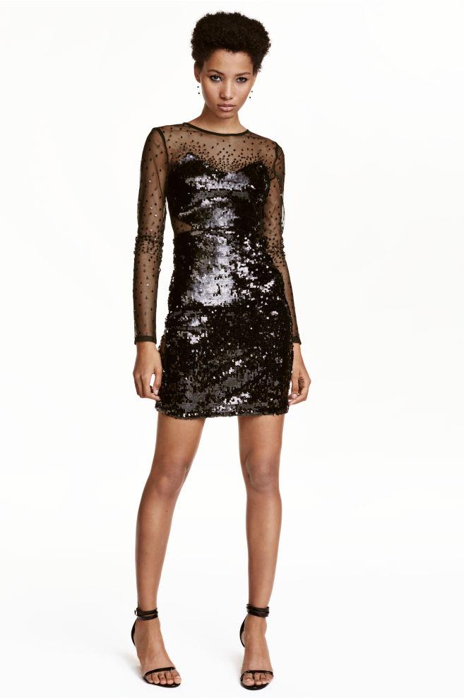 60963956e53 Short sequined dress - Black - Ladies | H&M ...
