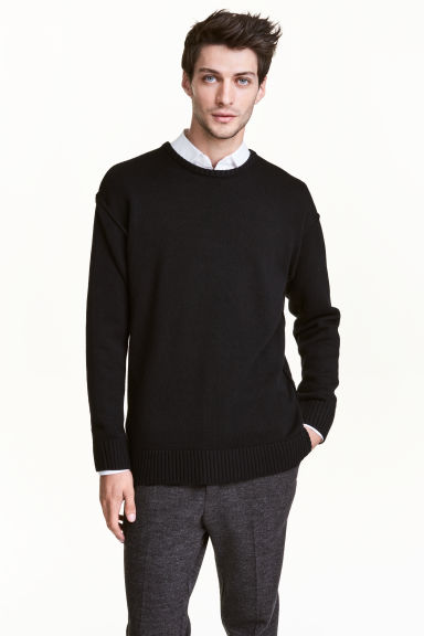 Wool-blend jumper - Black -  | H&M