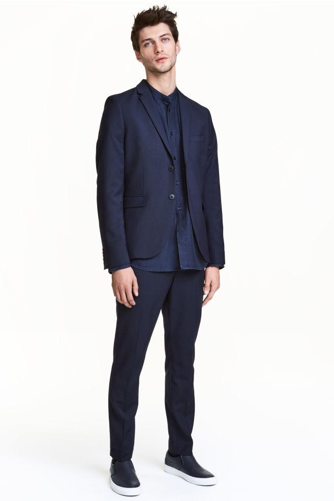 54d70ce906 Szűk fazonú öltönynadrág - Sötétkék - FÉRFI | H&M ...