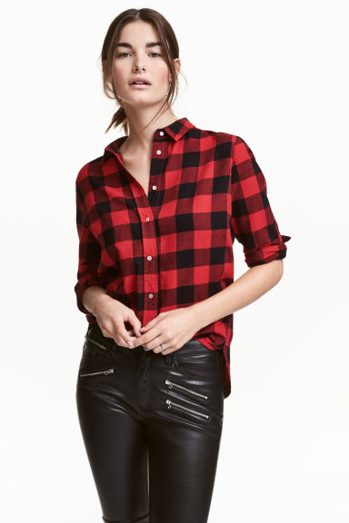 Flannel shirt - Red/Checked - Ladies | H&M GB