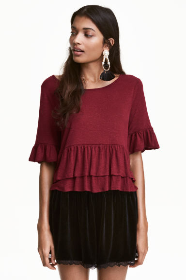 Flounced linen-blend top - Dark red - Ladies | H&M