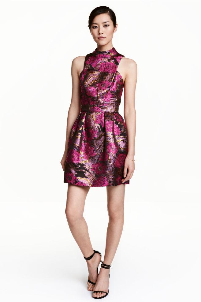 53f616d9ab4e Jacquard-weave dress - Black Pink floral - Ladies