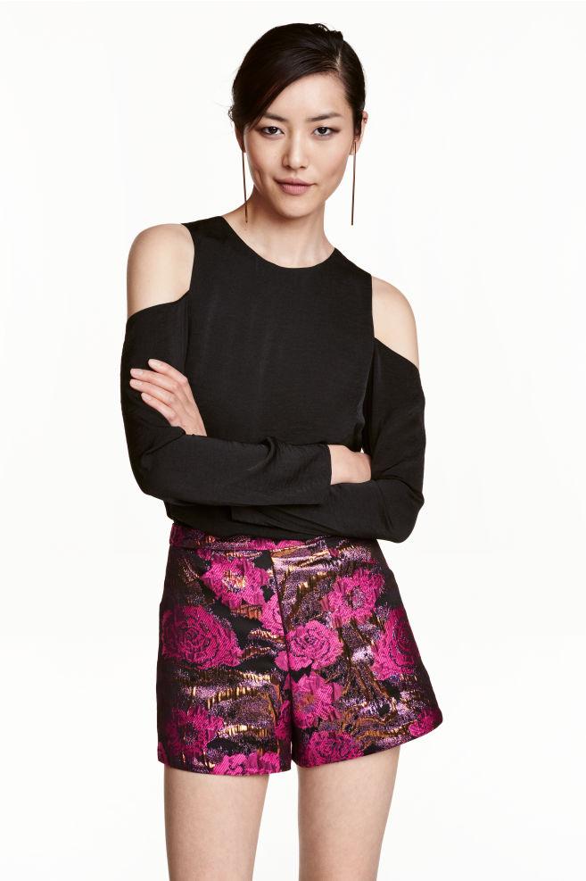 2b496e92827a Jacquard-weave shorts - Black Pink floral - Ladies