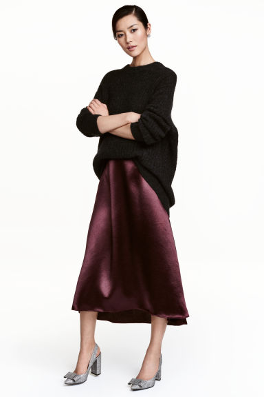 Satin skirt - Plum -  | H&M CA