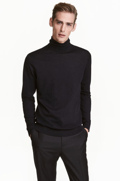 Premium Cotton Turtleneck - Dark blue - Men | H&M US
