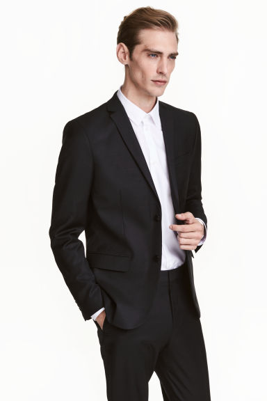 Wool jacket Regular fit - Black - Men | H&M