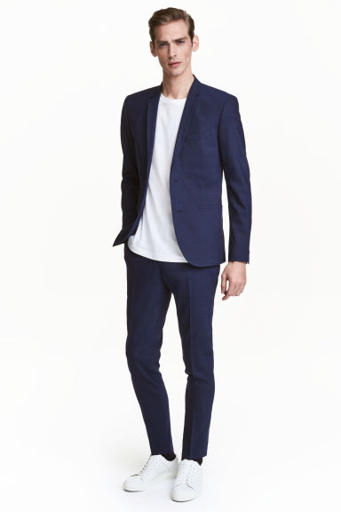Wool suit trousers Skinny Fit - Navy blue -  | H&M