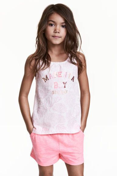Printed vest top - White/Light pink -  | H&M CN